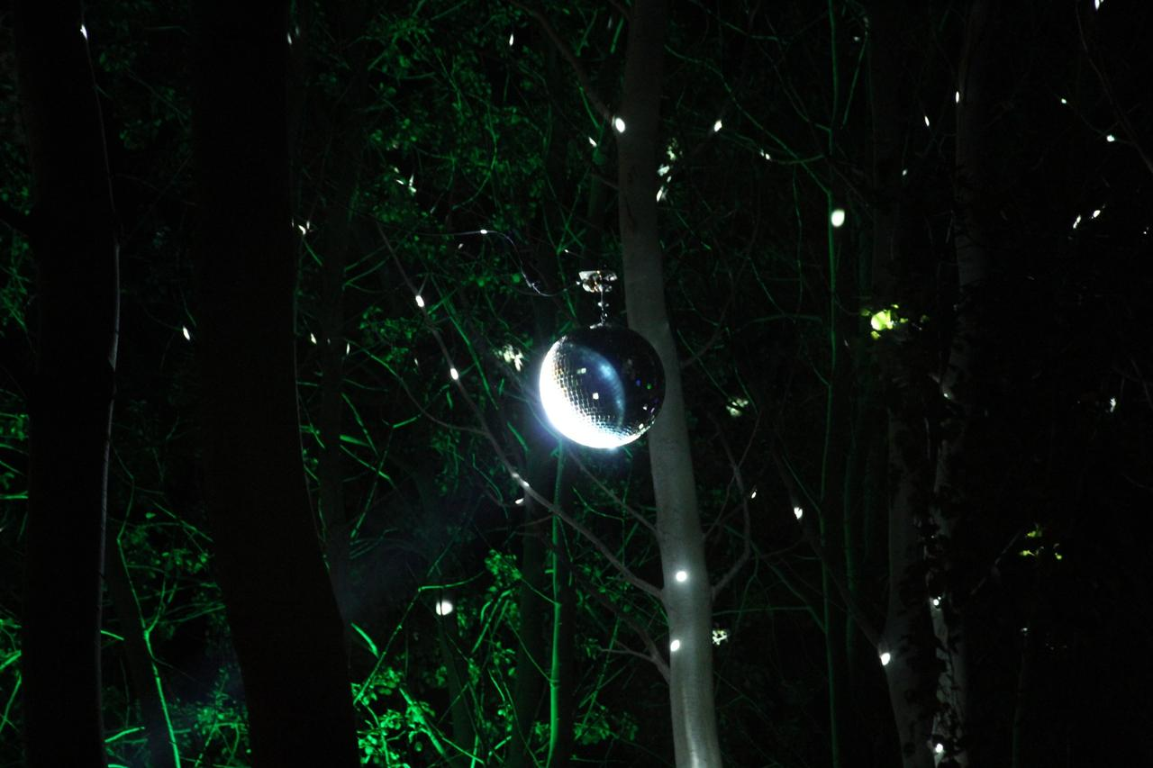 Disco ball in the trees at CCCamp2015